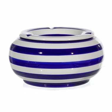 1x blauw/witte ronde terras asbakken/stormasbakken 23 cm