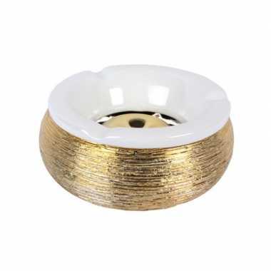 1x terras asbakken/stormasbakken goud 15 cm keramiek