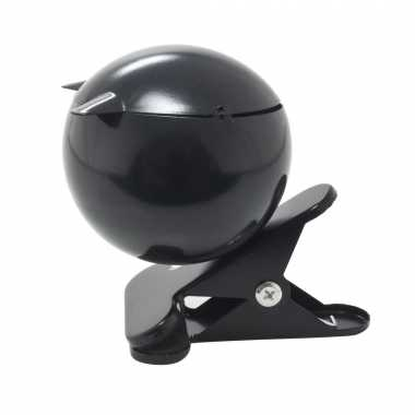 1x zwarte bol asbakken met tafelklem 14 cm