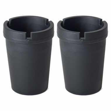2x auto asbakken zwart 11 x 8 cm