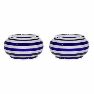 2x blauw/witte ronde terras asbakken/stormasbakken 23 cm