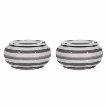 2x grote ronde terras asbakken/stormasbakken grijs/wit gestreept 23 cm