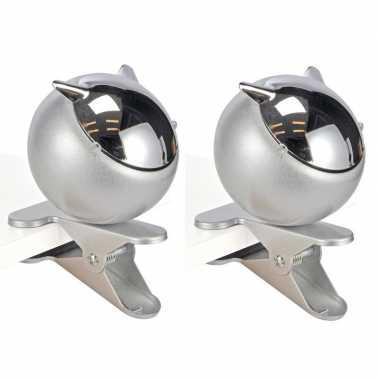 2x klemasbak / asbak met clip zilver