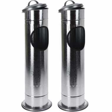 2x staande asbakken met afvalbakje en deksel zilver 60 cm