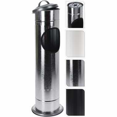 2x staande asbakken met afvalbakje en deksel zwart 60 cm
