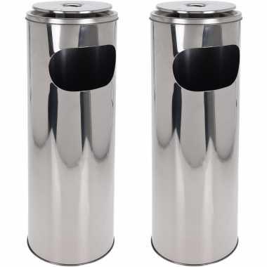 2x staande asbakken met afvalbakje zilver 59 cm