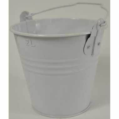 2x witte metalen emmer 16 x 14 cm asbak/bestekbak/bloempotje