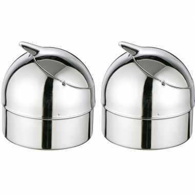 2x zilveren klepasbakken / terrasasbakken 9 cm