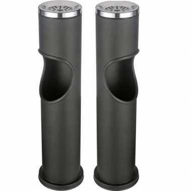 2x zwarte staande asbak met uitneembare prullenbak 46,5 cm