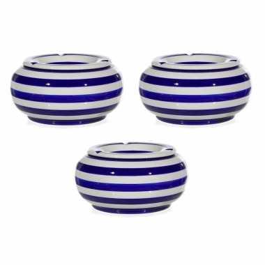 3x blauw/witte ronde terras asbakken/stormasbakken 23 cm