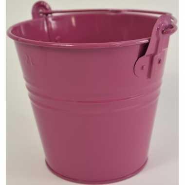 3x fuchsia roze metalen emmer 16 x 14 cm asbak/bestekbak/bloempotje