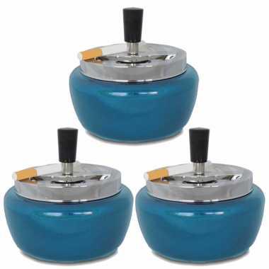 3x metallic blauwe draaiasbakken/drukasbakken 13 cm