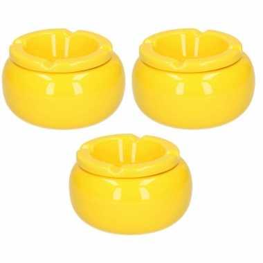 3x stuks ronde stormasbakken geel 11 cm