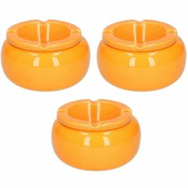 3x stuks ronde stormasbakken oranje 11 cm