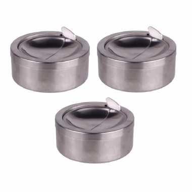 3x zilveren klep/terras asbakken rond 11 cm rvs