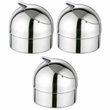 3x zilveren klepasbakken / terrasasbakken 9 cm