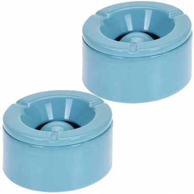 6x tuinasbak blauw met deksel 14 cm