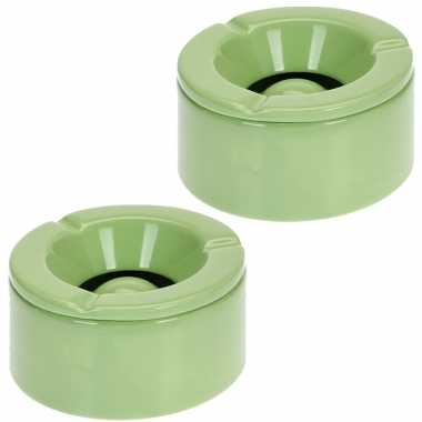 6x tuinasbak groen met deksel 14 cm