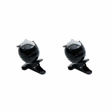 Kleine zwarte asbakken op clip 2 stuks 13 x 11 x 13 cm