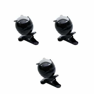 Kleine zwarte asbakken op clip 3 stuks 13 x 11 x 13 cm