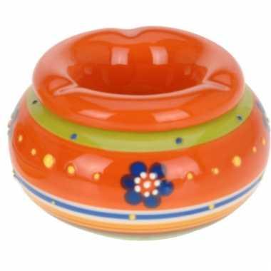 Oranje keramische asbak 11 cm