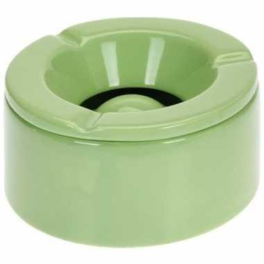 Tuinasbak groen met deksel 14 cm