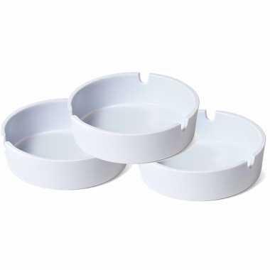 Voordeelset 12x basis asbakken wit 10 cm kunststof