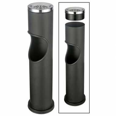 Zwarte staande asbak met uitneembare prullenbak 46,5 cm