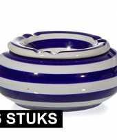 6x tuinasbak blauw wit 10 cm
