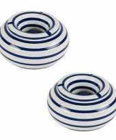 Grote terras asbakken stormasbakken blauw wit gestreept 2 stuks 22 x 11 cm