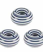 Grote terras asbakken stormasbakken blauw wit gestreept 3 stuks 22 x 11 cm